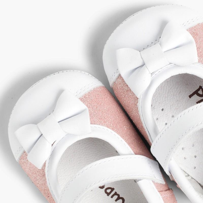 Sapatos Mercedita Bebé Napa e Camurça Brilhos Rosa