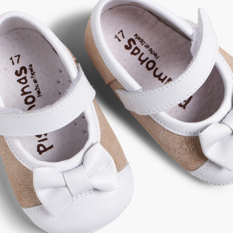 Sapatos Mercedita Bebé Napa e Camurça Brilhos Ouro
