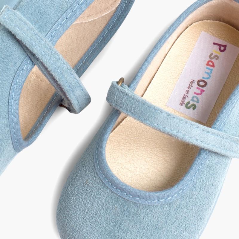 Sapatos Merceditas Bamara com Velcro Azul Claro