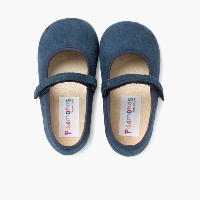 Sapatos Merceditas Bamara com Velcro Azul Marinho