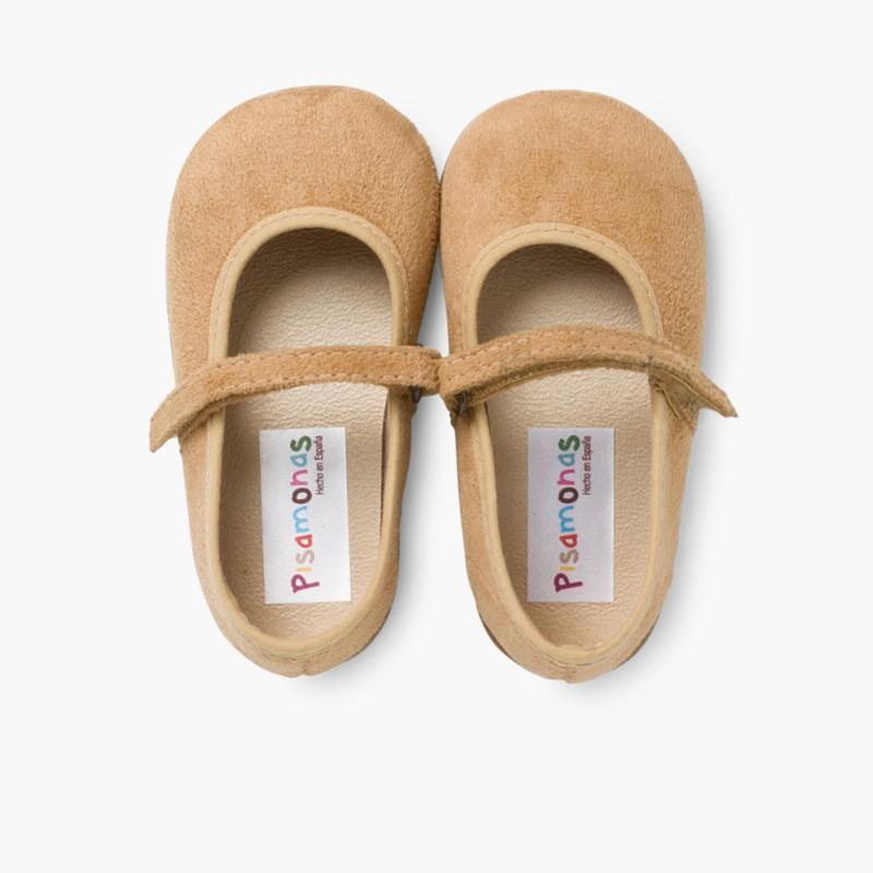 Sapatos Merceditas Bamara com Velcro Camel