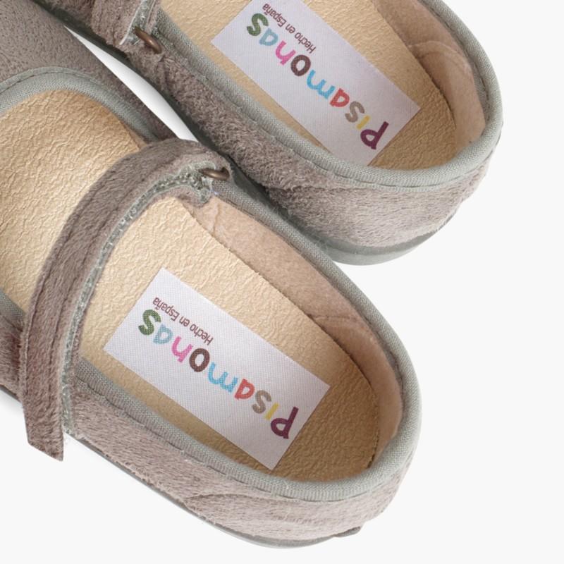 Sapatos Merceditas Bamara com Velcro Cinzento
