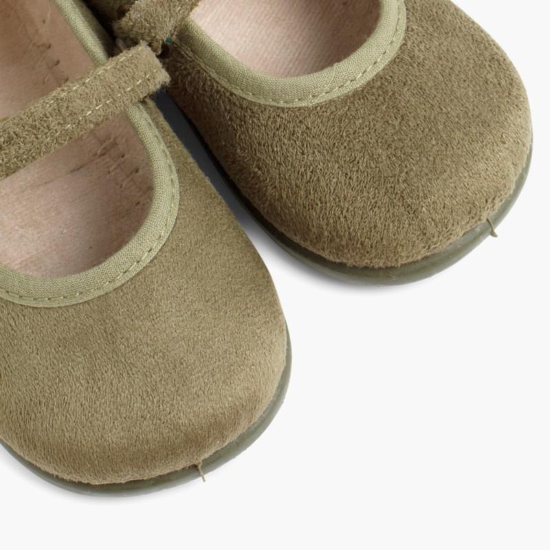 Sapatos Merceditas Bamara com Velcro Caqui