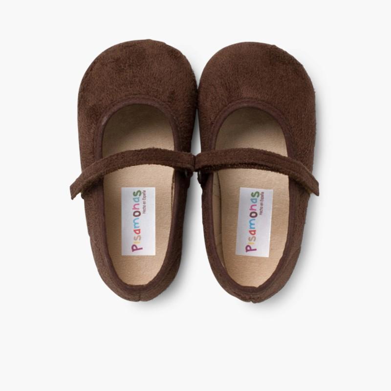 Sapatos Merceditas Bamara com Velcro Castanho