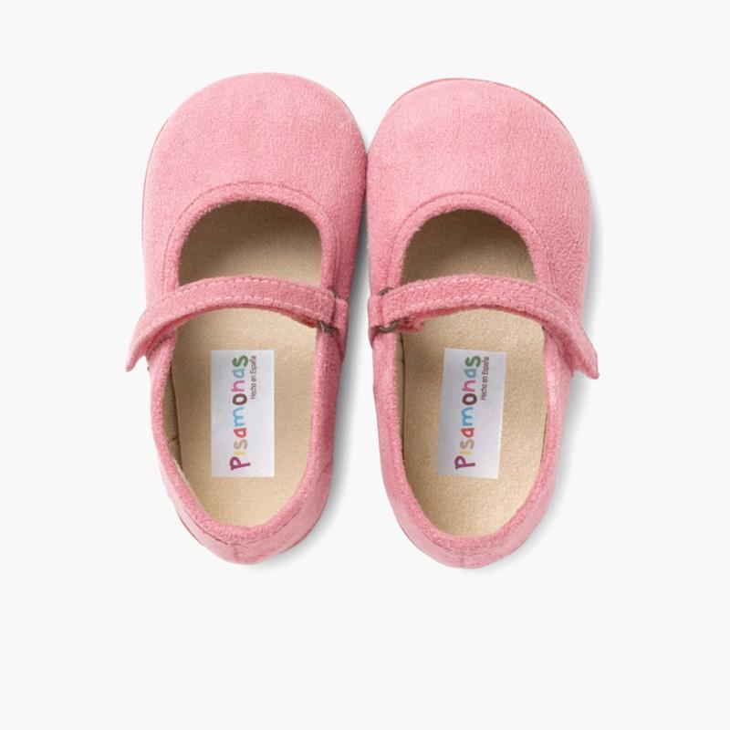 Sapatos Merceditas Bamara com Velcro Rosa