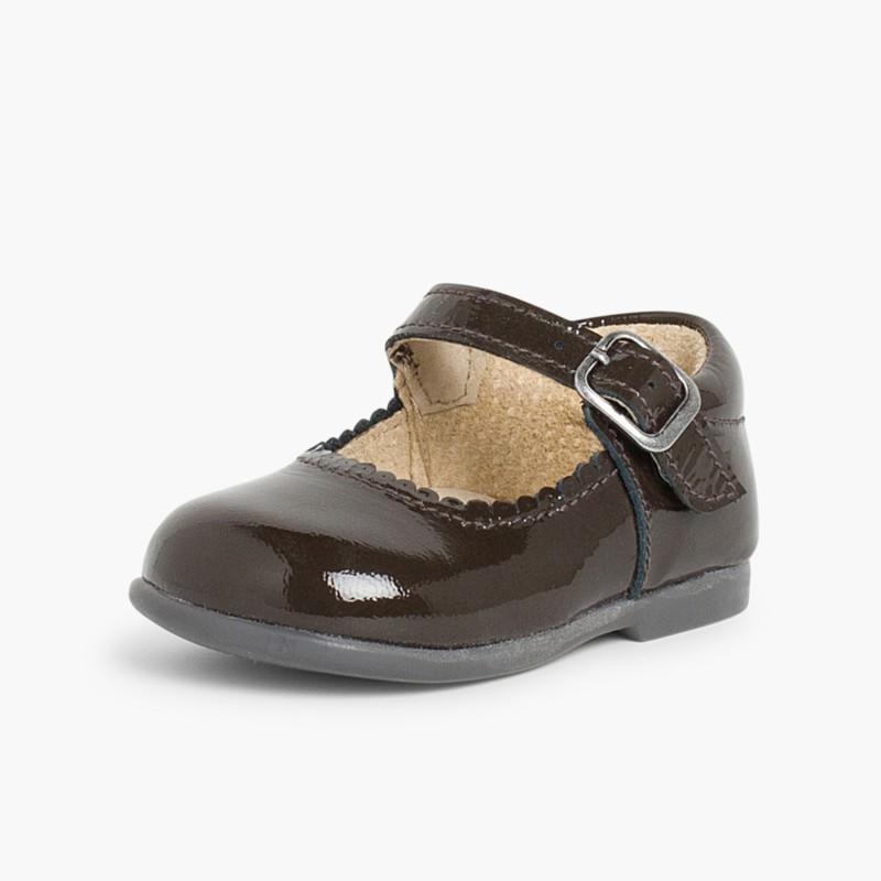 Sapatos Merceditas Menina Verniz Fivela Castanho