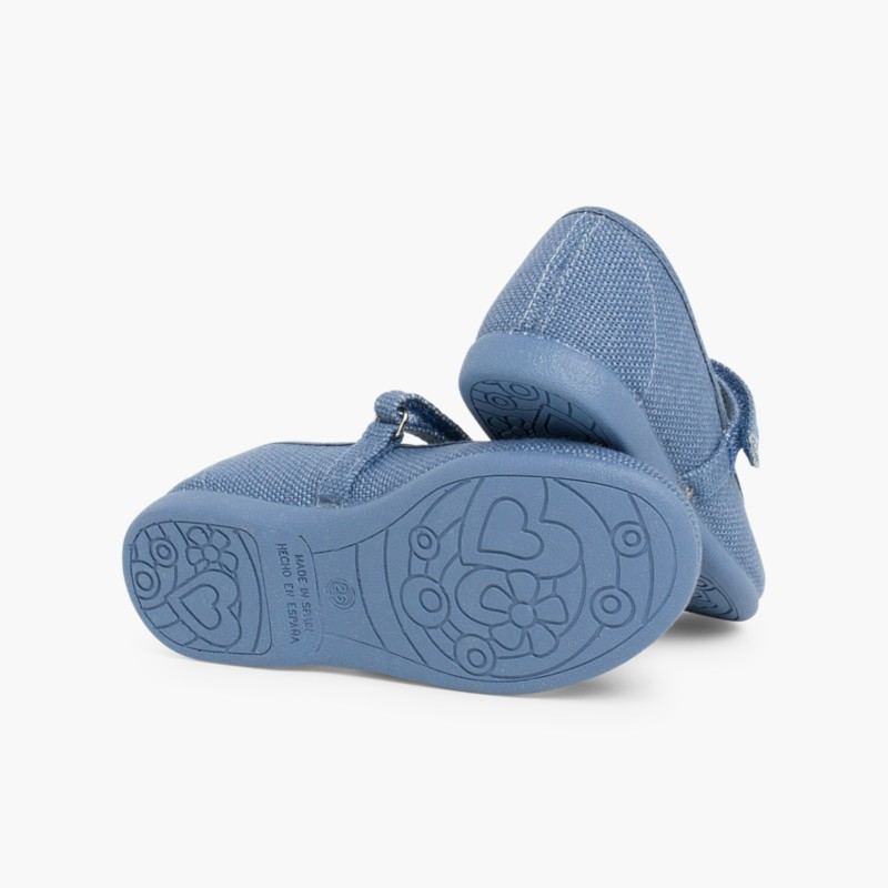 Sapatos Merceditas Linho com Velcro Fino Azul França