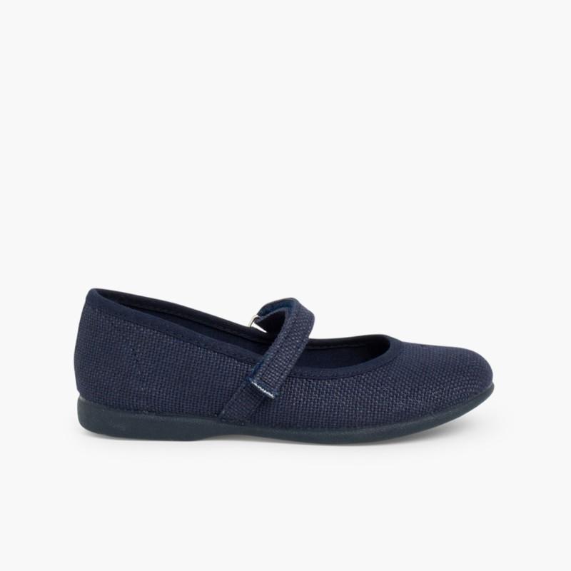 Sapatos Merceditas Linho com Velcro Fino Azul-marinho