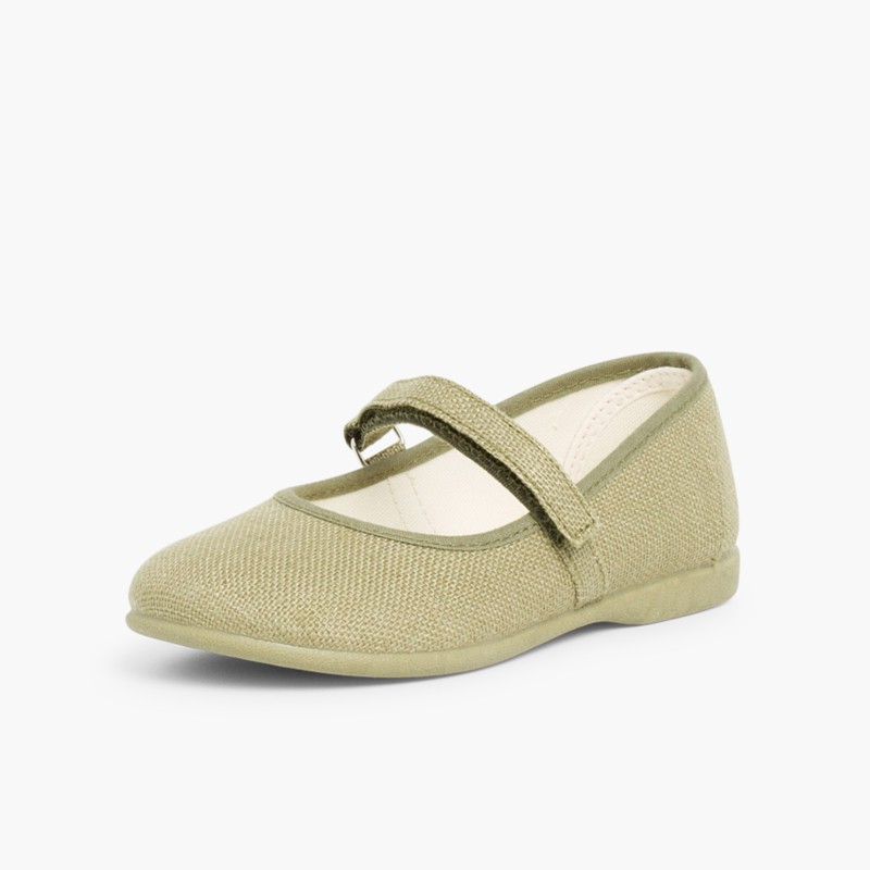 Sapatos Merceditas Linho com Velcro Fino Caqui