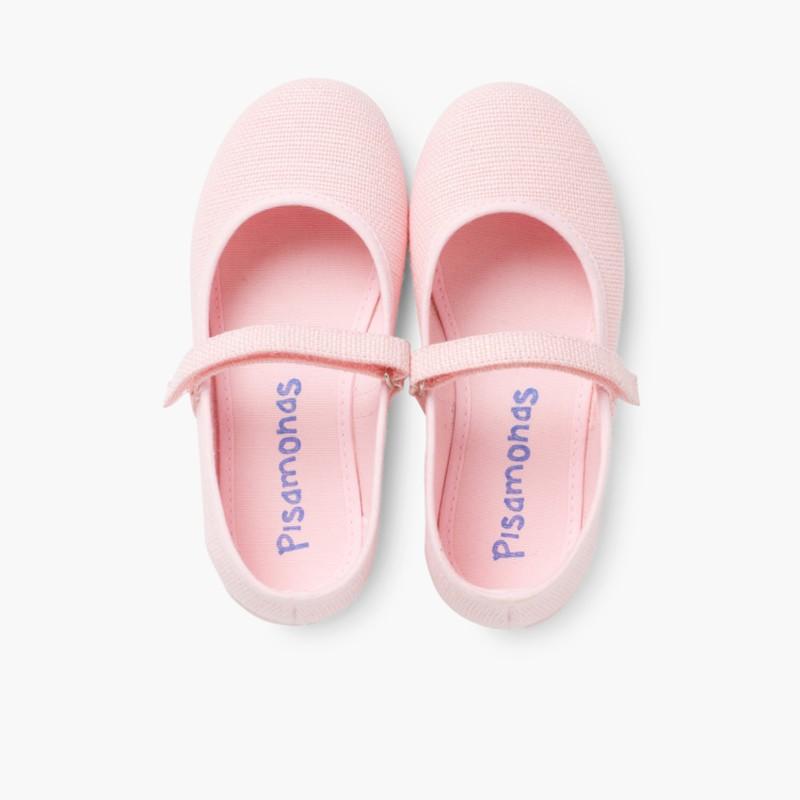 Sapatos Merceditas Linho com Velcro Fino Rosa