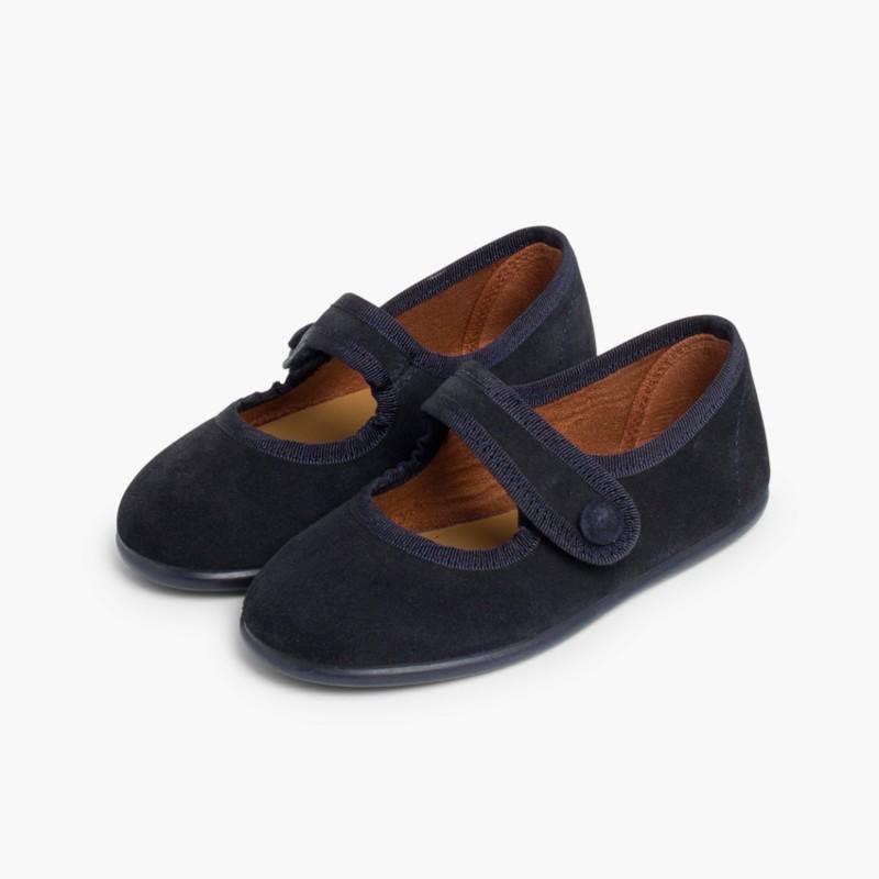 Sapatos Merceditas Camurça Velcro para Meninas Azul Marinho