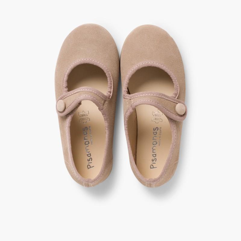 Sapatos Merceditas Camurça Velcro para Meninas Bege