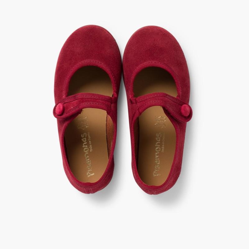 Sapatos Merceditas Camurça Velcro para Meninas Bordeaux
