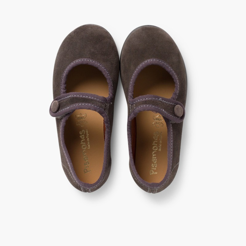 Sapatos Merceditas Camurça Velcro para Meninas Cinzento