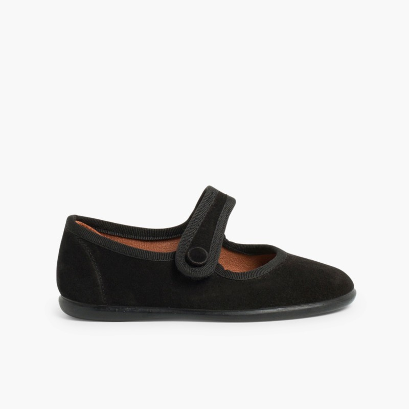 Sapatos Merceditas Camurça Velcro para Meninas Preto