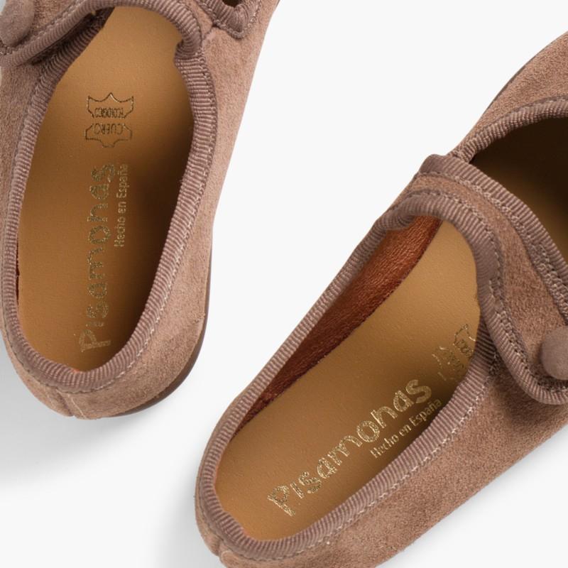 Sapatos Merceditas Camurça Velcro para Meninas Taupe