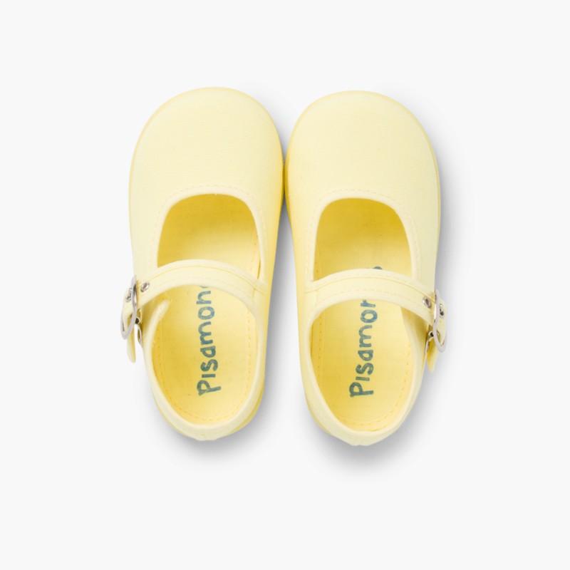 Sapatos Merceditas Tecido com Fivela Amarelo Lim�o