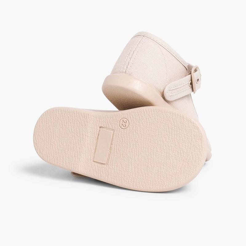 Sapatos Merceditas Tecido com Fivela Areia
