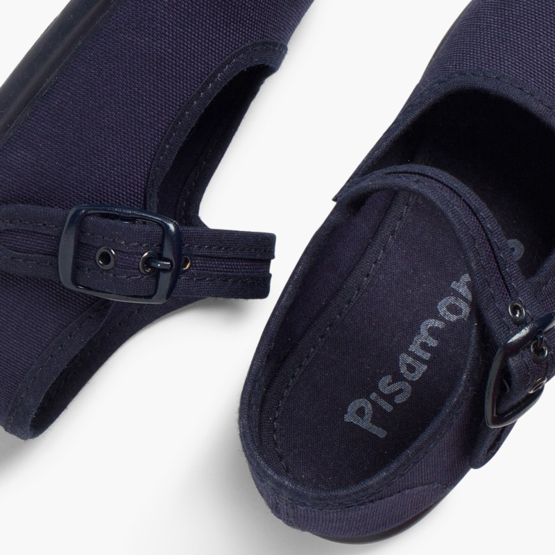 Sapatos Merceditas Tecido com Fivela Azul Marinho