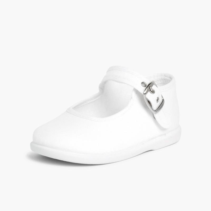 Sapatos Merceditas Tecido com Fivela Branco