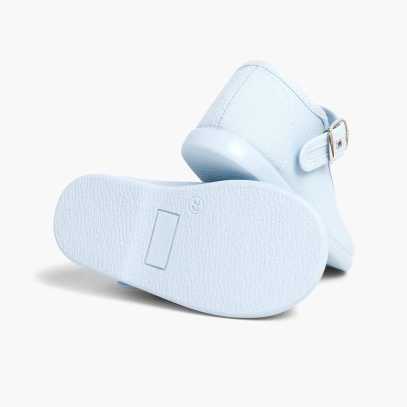 Sapatos Merceditas Tecido com Fivela Celeste