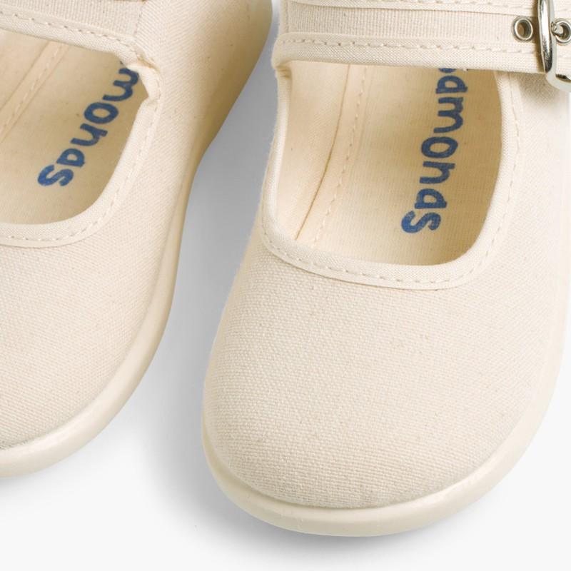 Sapatos Merceditas Tecido com Fivela Cru