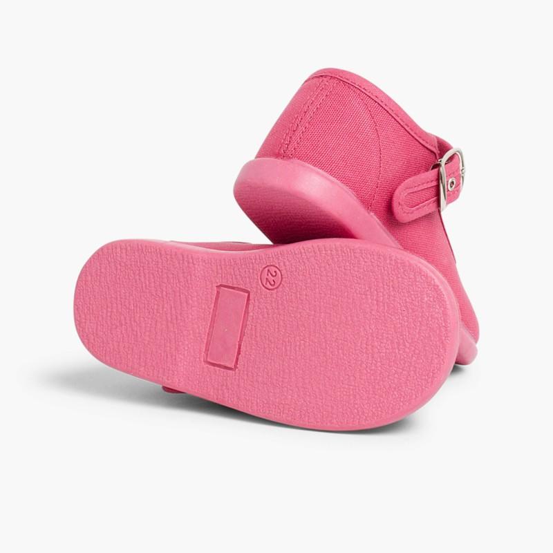 Sapatos Merceditas Tecido com Fivela Framboesa
