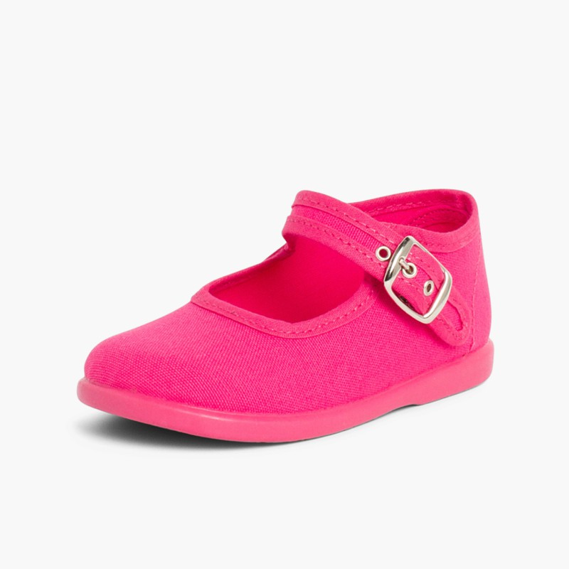 Sapatos Merceditas Tecido com Fivela Fúcsia