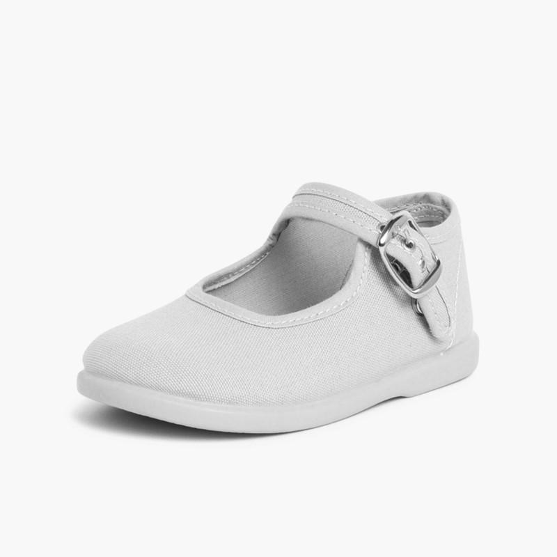 Sapatos Merceditas Tecido com Fivela Cinento
