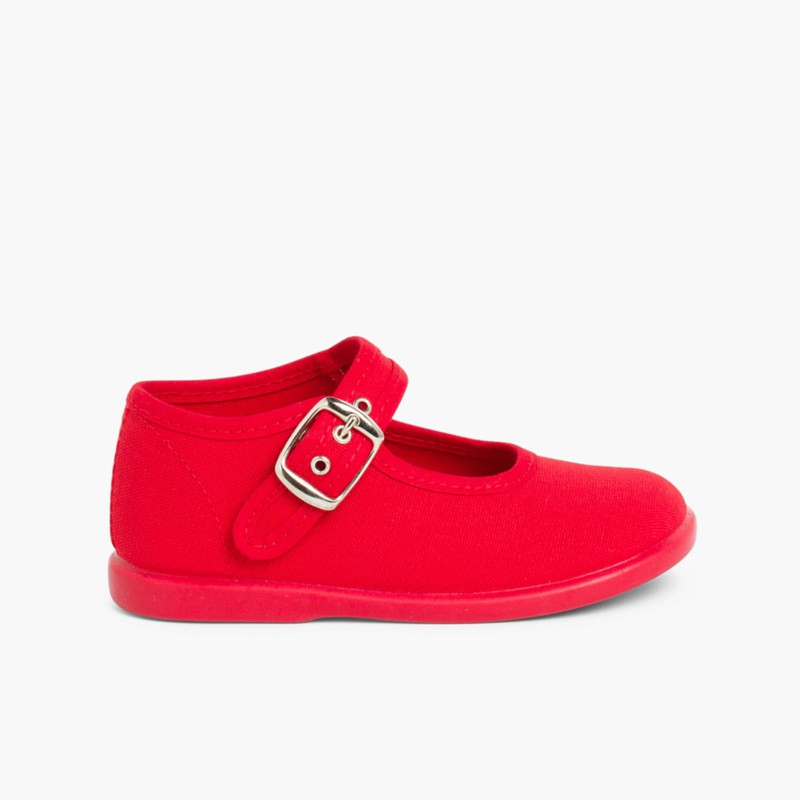 Sapatos Merceditas Tecido com Fivela Vermelho