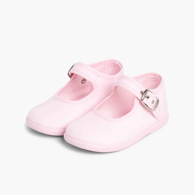 Sapatos Merceditas Tecido com Fivela Rosa