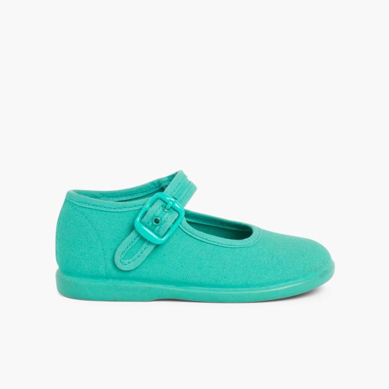 Sapatos Merceditas Tecido com Fivela Verde Esmeralda