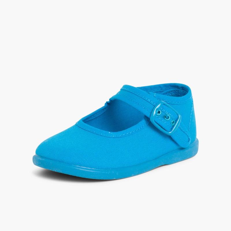 Sapatos Merceditas Tecido com Fivela Turquesa