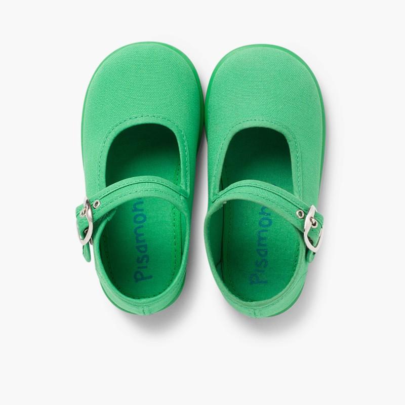 Sapatos Merceditas Tecido com Fivela Verde