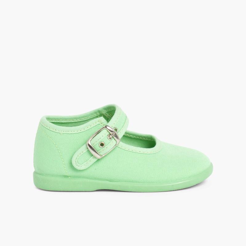 Sapatos Merceditas Tecido com Fivela Verde M��_a