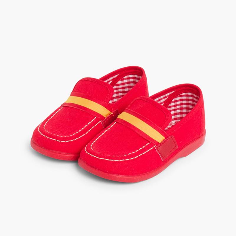Mocassins Tecido Bandeira Espanha Vermelho