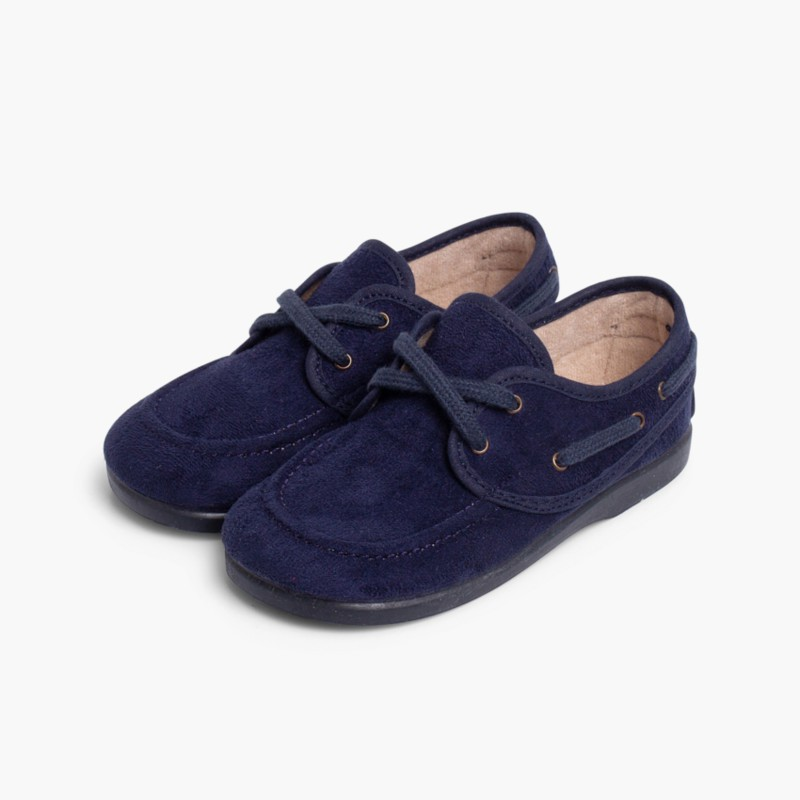 Sapatos de Vela tipo Camurça com atacadores Azul Marinho