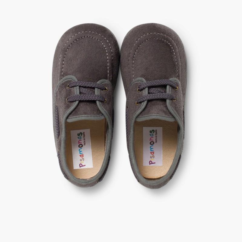 Sapatos de Vela tipo Camurça com atacadores Cinzento