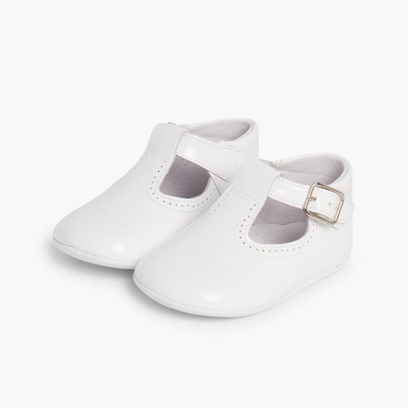 Sapato Pepito Verniz Bebé com Fivela Branco