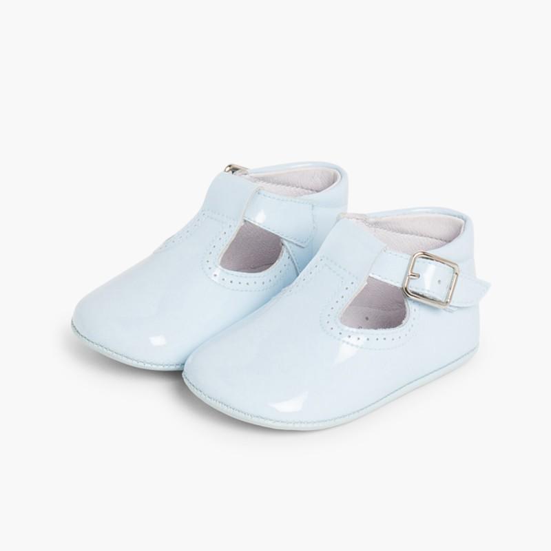 Sapato Pepito Verniz Bebé com Fivela Celeste