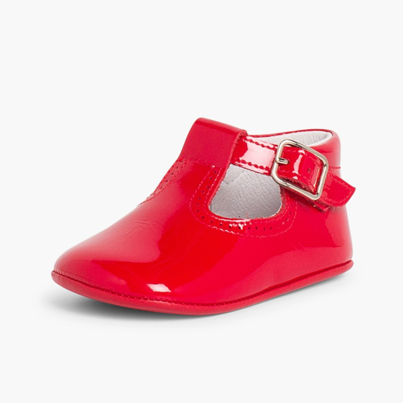 Sapato Pepito Verniz Bebé com Fivela Vermelho