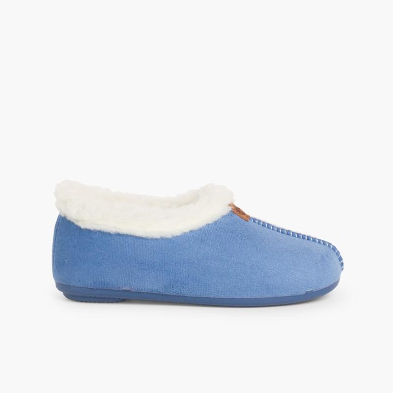 Pantufas Bamara forro felpudo azul