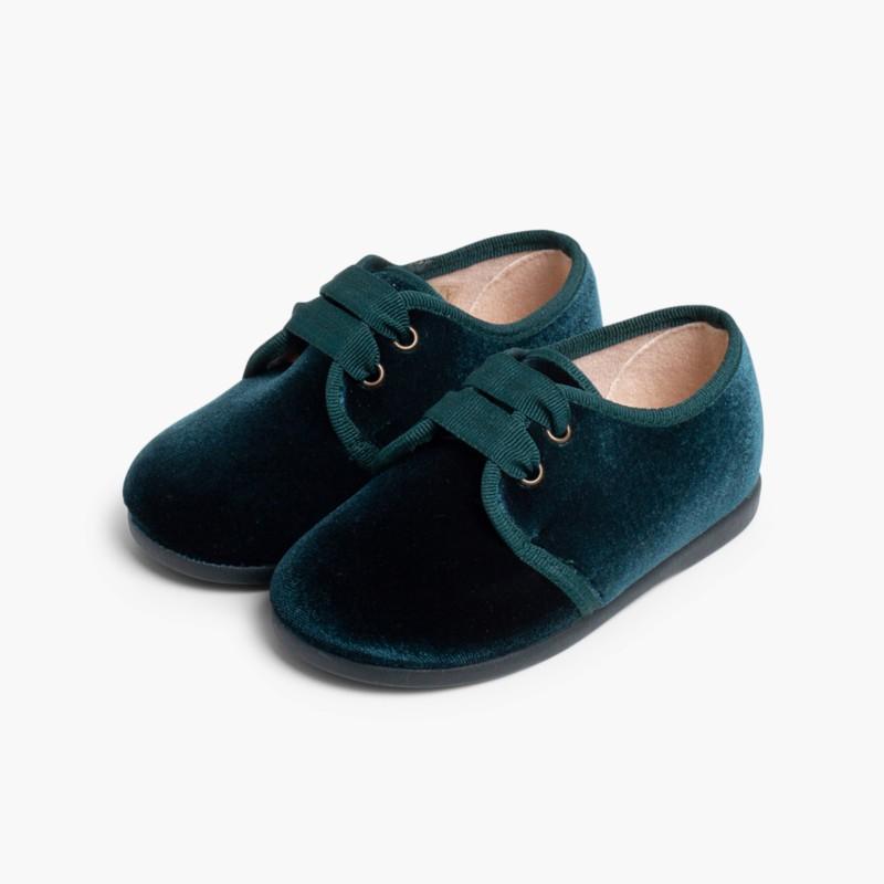 Sapatos de Veludo atacadores gorgor�o Verde