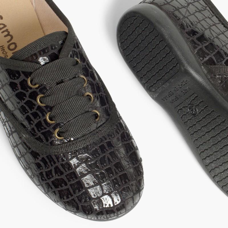 Sapatos Blucher Mulher e Menina Coco Preto