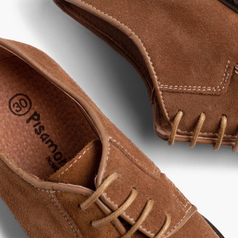 Sapatos Blucher lisos Bege Escuro