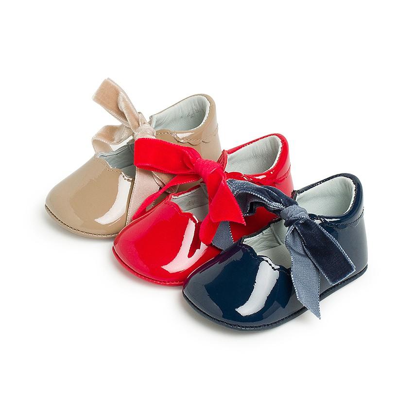 Sapatos Merceditas Bebé Verniz Laço Veludo