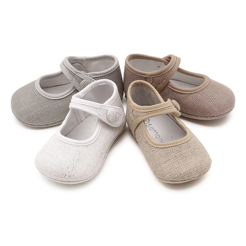 Sapatos Merceditas Bebé Linho tiras aderentes