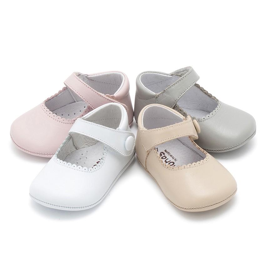 Sapato Mercedita Pele Bebé com tiras aderentes