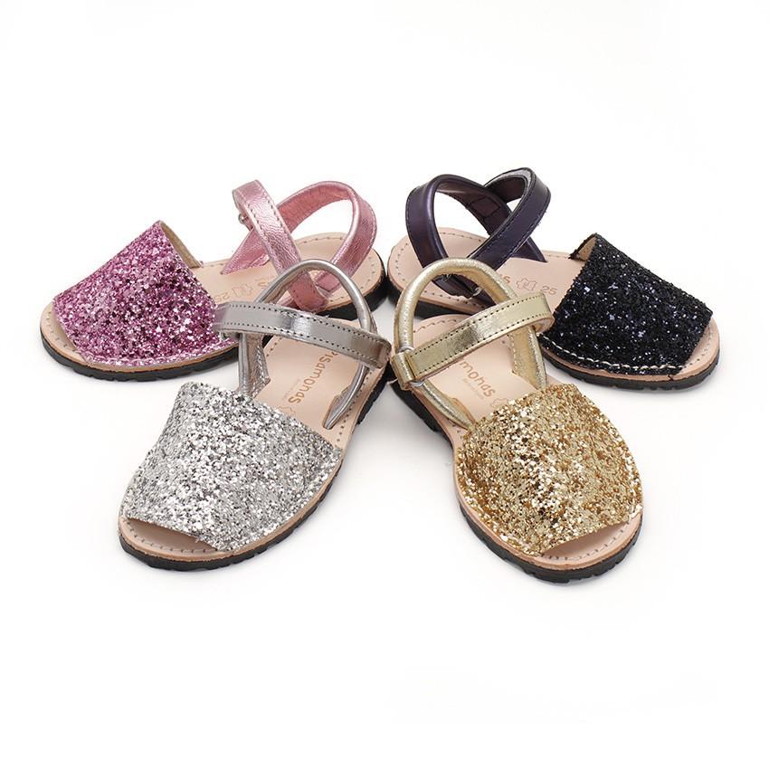 Sandálias Menorquinas Glitter com tiras aderentes