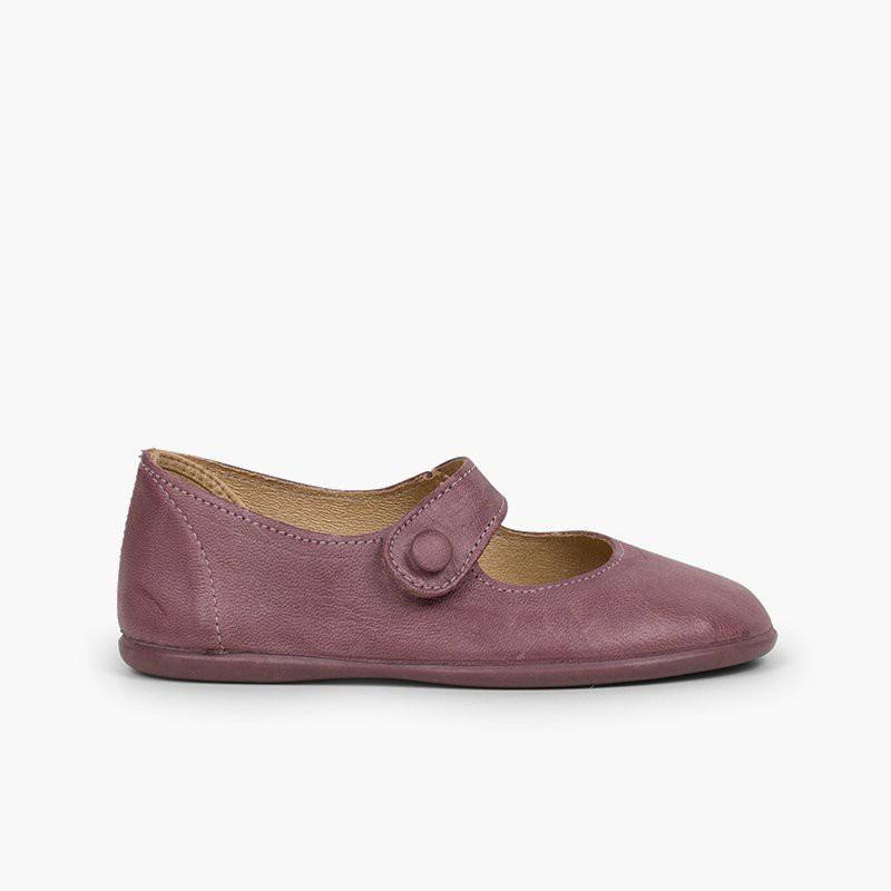 Sapatos Merceditas Menina Pele tiras aderentes   Botão